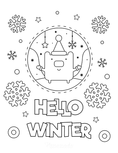 Snowflake Coloring Page Hello Winter Snowglobe