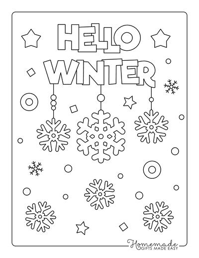 Snowflake Coloring Page Hello Winter Snowing Cute