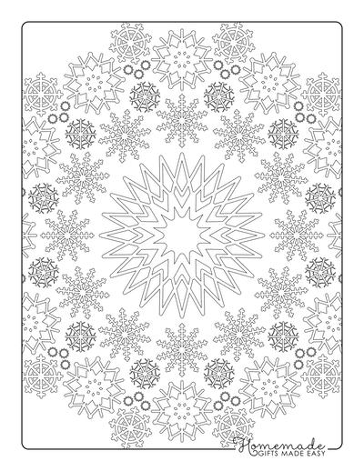 Snowflake Coloring Page Mandala