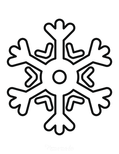 Snowflake Coloring Page Simple Outline 1