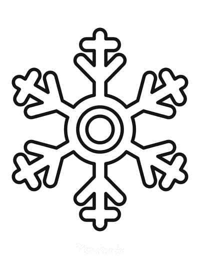 Snowflake Coloring Page Simple Outline 10