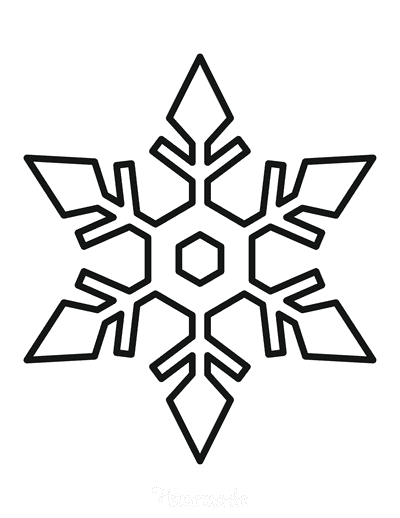 Snowflake Coloring Page Simple Outline 11