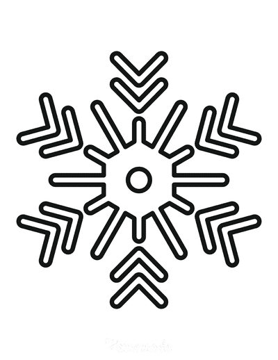 Snowflake Coloring Page Simple Outline 13