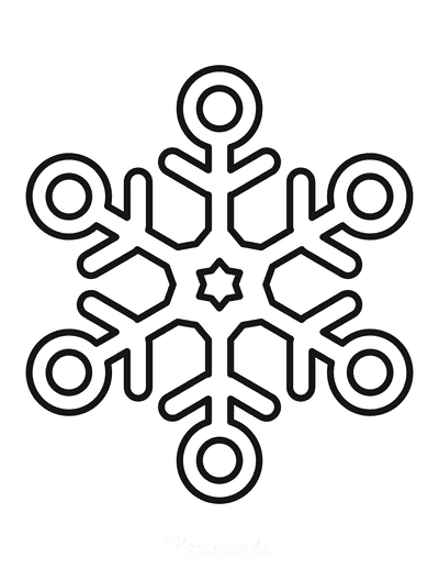 Snowflake Coloring Page Simple Outline 14