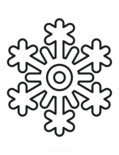 Snowflake Coloring Page Simple Outline 15