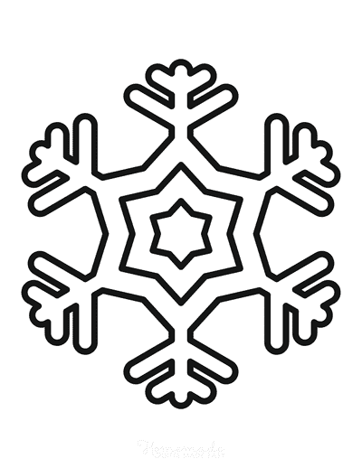 Snowflake Coloring Page Simple Outline 16