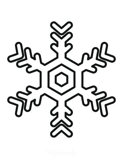 Snowflake Coloring Page Simple Outline 17