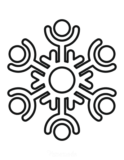 Snowflake Coloring Page Simple Outline 18