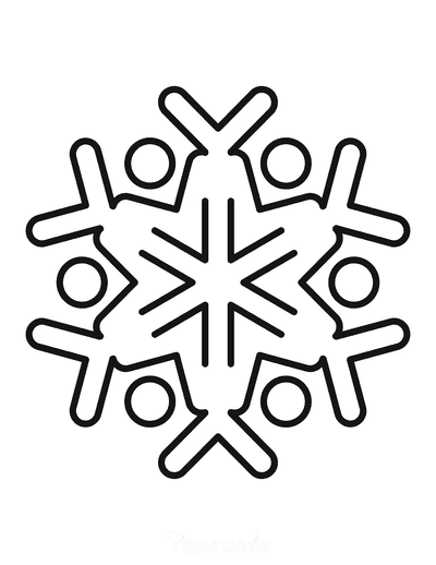 Snowflake Coloring Page Simple Outline 19