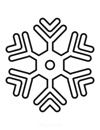 Snowflake Coloring Page Simple Outline 2
