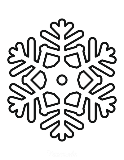 Snowflake Coloring Page Simple Outline 21