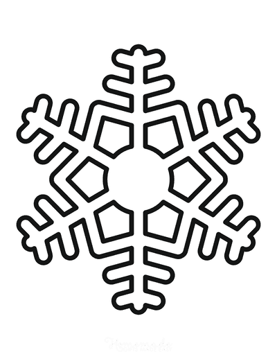 Snowflake Coloring Page Simple Outline 22