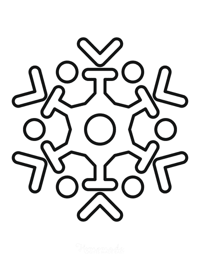 Snowflake Coloring Page Simple Outline 23