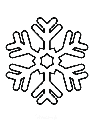Snowflake Coloring Page Simple Outline 24