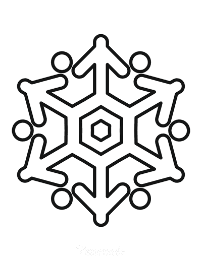Snowflake Coloring Page Simple Outline 26