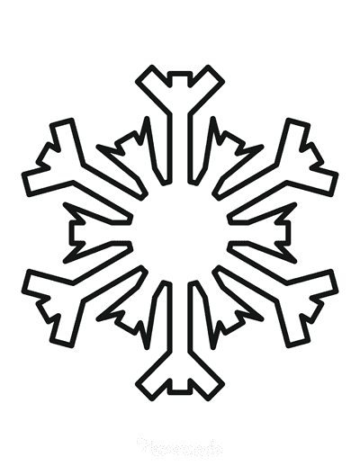 Snowflake Coloring Page Simple Outline 27