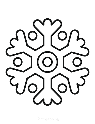 Snowflake Coloring Page Simple Outline 28