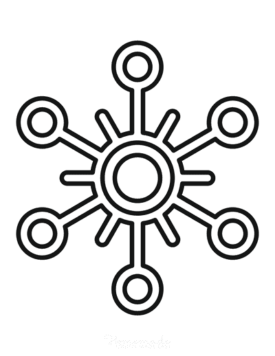 Snowflake Coloring Page Simple Outline 29