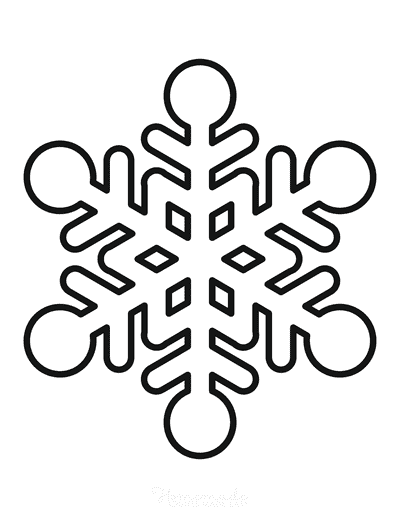 Snowflake Coloring Page Simple Outline 3