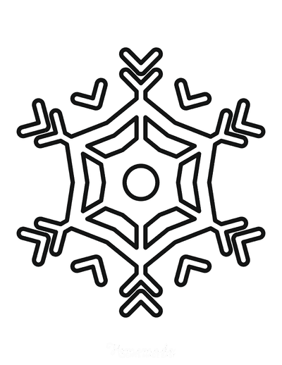 Snowflake Coloring Page Simple Outline 30