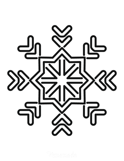 Snowflake Coloring Page Simple Outline 32