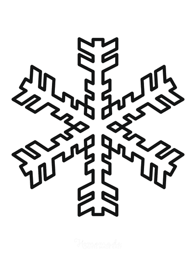 Snowflake Coloring Page Simple Outline 33