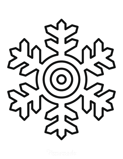Snowflake Coloring Page Simple Outline 34