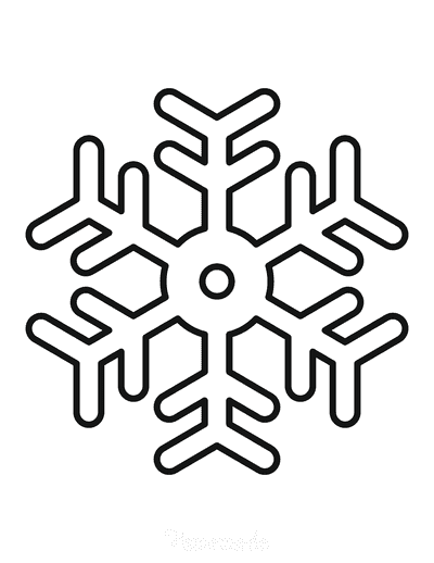 Snowflake Coloring Page Simple Outline 6