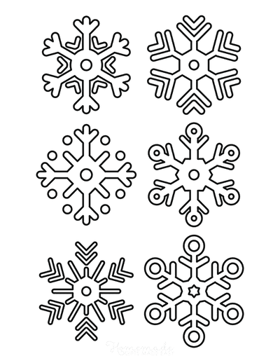 Snowflake Coloring Page Simple Outline 6 Designs P1