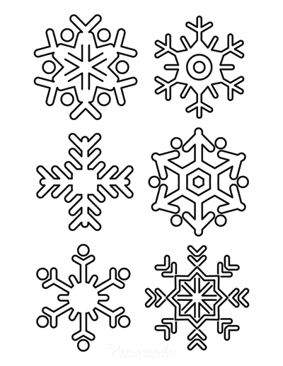 Snowflake Coloring Page Simple Outline 6 Designs P2