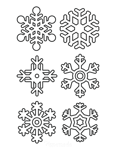 Snowflake Coloring Page Simple Outline 6 Designs P3