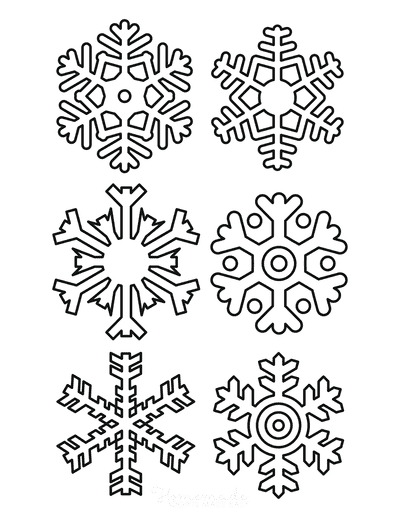 Snowflake Coloring Page Simple Outline 6 Designs P4