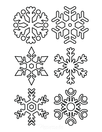 Snowflake Coloring Page Simple Outline 6 Designs P5