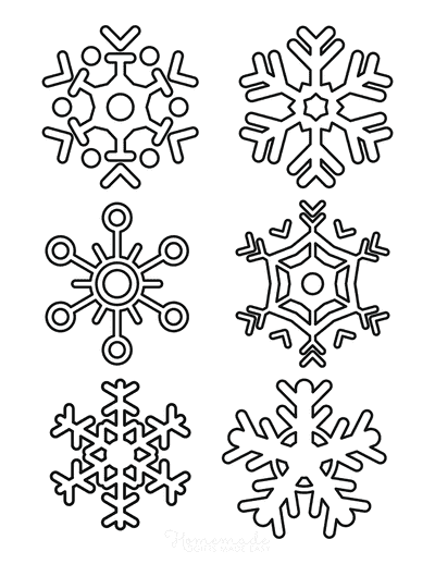 Snowflake Coloring Page Simple Outline 6 Designs P6
