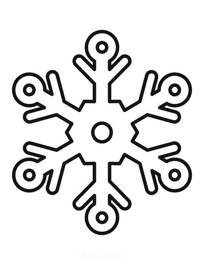 Snowflake Coloring Page Simple Outline 8