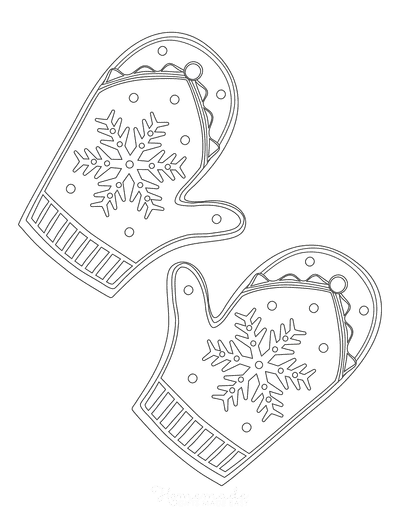 Snowflake Coloring Page Winter Mittens
