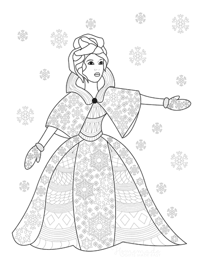 Snowflake Coloring Page Winter Queen Princess Snow