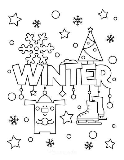Snowflake Coloring Page Winter Snow Ice Skates Cute