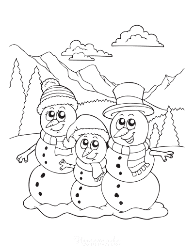 Snowman Coloring Pages 3 Cute Snowman in Mountains