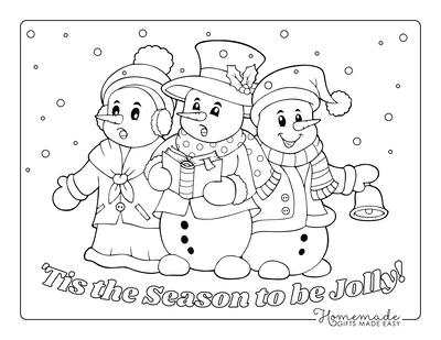 Snowman Coloring Pages 3 Snowmen Singing Carols