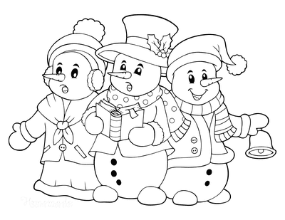 Snowman Coloring Pages 3 Snowmen Singing Carols