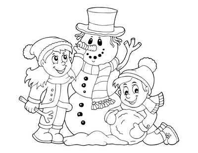 Snowman Coloring Pages Boy Girl Building Snowman Carrot Nose Scarf Hat
