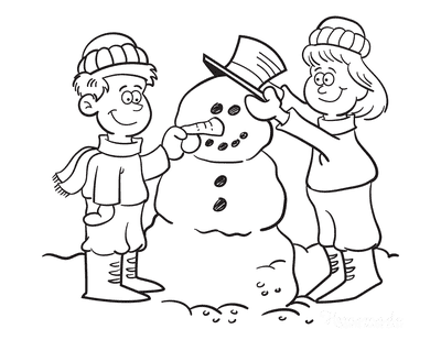 Snowman Coloring Pages Boy Girl Building Snowman Sketch