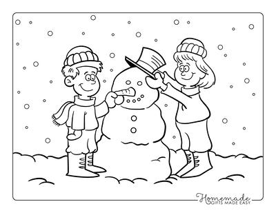 Snowman Coloring Pages Boy Girl Building Snowman Sketch