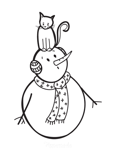 Snowman Coloring Pages Cute Cat on Snowman Head Ear Muffs Scarf