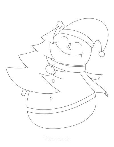 Snowman Coloring Pages Cute Outline Christmas Tree