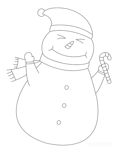 Snowman Coloring Pages Cute Outline Holding Candy Cane