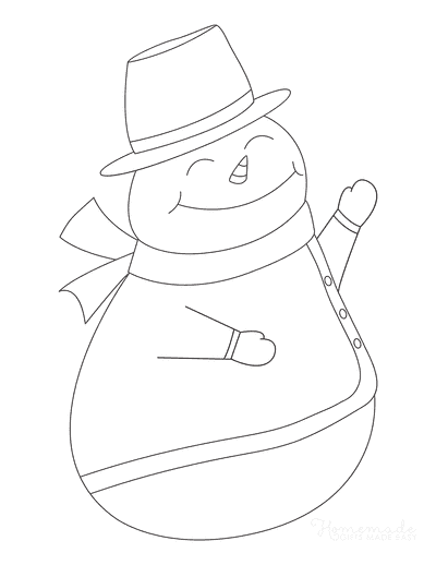 Snowman Coloring Pages Cute Outline Top Hat Waving