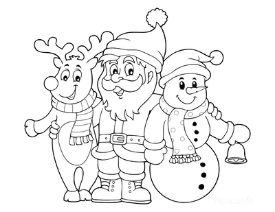 Snowman Coloring Pages Cute Reindeer Santa Snowman With Bell