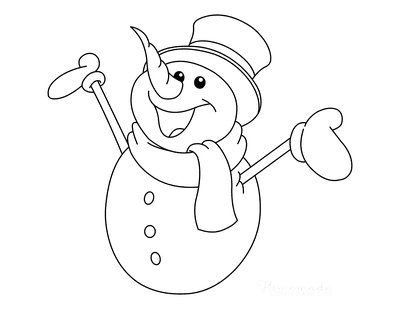 Snowman Coloring Pages Cute Smiling Frosty Snowman Top Hat